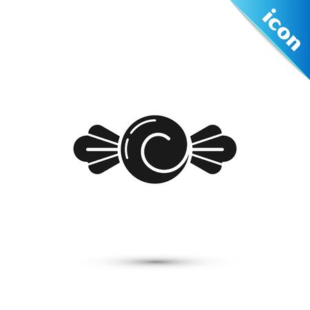 Black Candy icon isolated on white background. Happy Halloween party. Vector Illustration 向量圖像