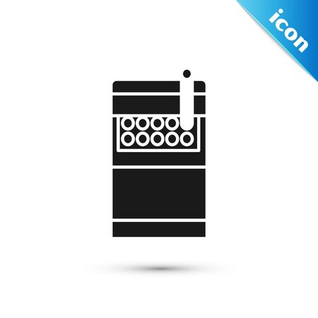Black Open cigarettes pack box icon isolated on white background. Cigarettes pack. Vector Illustration Ilustrace