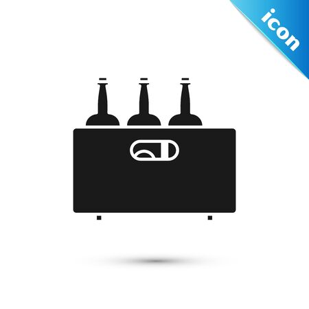 Black Bottles of wine in a wooden box icon isolated on white background. Wine bottles in a wooden crate icon. Vector Illustration Ilustrace