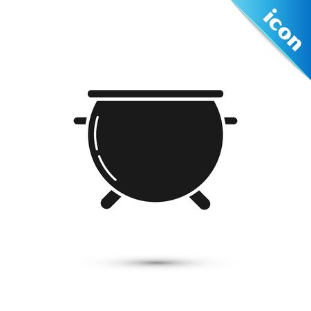 Black Halloween witch cauldron icon isolated on white background. Happy Halloween party. Vector Illustration
