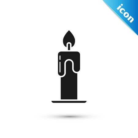 Black Burning candle icon isolated on white background. Cylindrical aromatic candle stick with burning flame. Happy Halloween party. Vector Illustration