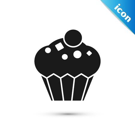 Black Muffin icon isolated on white background. Vector Illustration