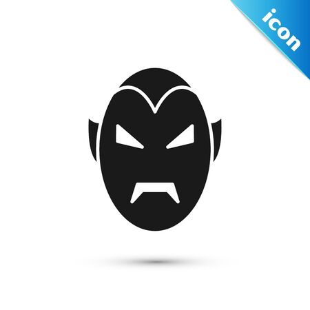 Black Vampire icon isolated on white background. Happy Halloween party. Vector Illustration