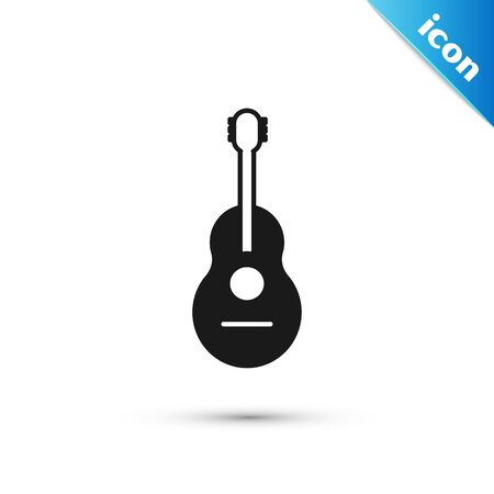 Black Guitar icon isolated on white background. Acoustic guitar. String musical instrument. Vector Illustration