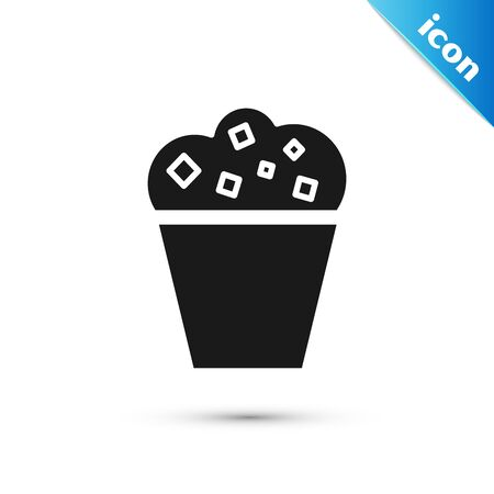 Black Popcorn in cardboard box icon isolated on white background. Popcorn bucket box. Vector Illustration 向量圖像