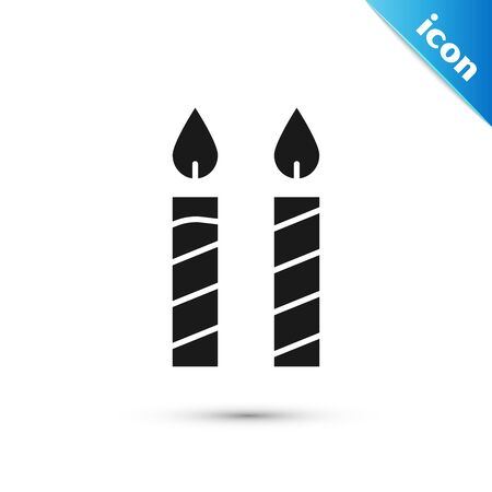 Black Birthday cake candles icon isolated on white background. Vector Illustration 向量圖像
