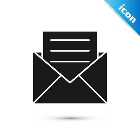 Black Envelope with invitation card icon isolated on white background. Vector Illustration