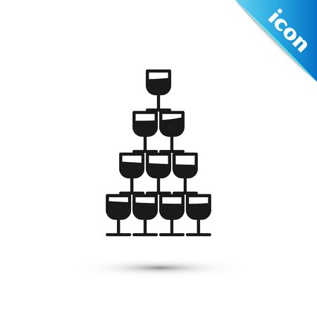 Black Wine glasses stacked in a pyramid tower icon isolated on white background. Wineglass sign. Vector Illustration
