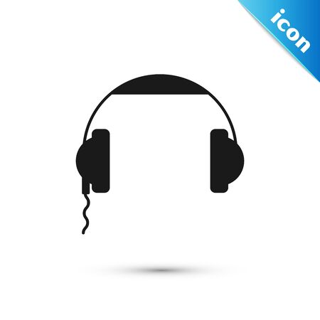 Black Headphones icon isolated on white background. Earphones sign. Concept for listening to music, service, communication and operator. Vector Illustration