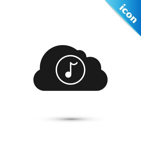 Black Music streaming service icon isolated on white background. Sound cloud computing, online media streaming, online song, audio wave. Vector Illustration Stock Illustratie