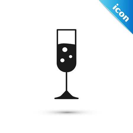 Black Glass of champagne icon isolated on white background. Vector Illustration