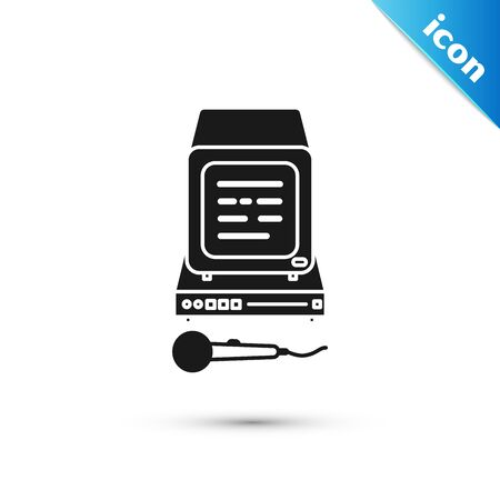 Black Karaoke icon isolated on white background. Microphone and monitor. Vector Illustration