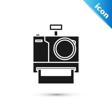 Black Photo camera icon isolated on white background. Foto camera icon. Vector Illustration