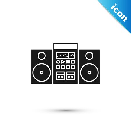 Black Home stereo with two speakers icon isolated on white background. Music system. Vector Illustration