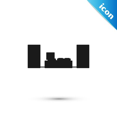 Black Home stereo with two speaker s icon isolated on white background. Music system. Vector Illustration