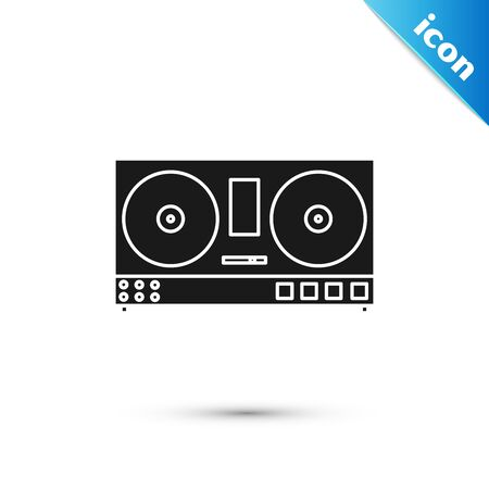 Black DJ remote for playing and mixing music icon isolated on white background. DJ mixer complete with vinyl player and remote control. Vector Illustration