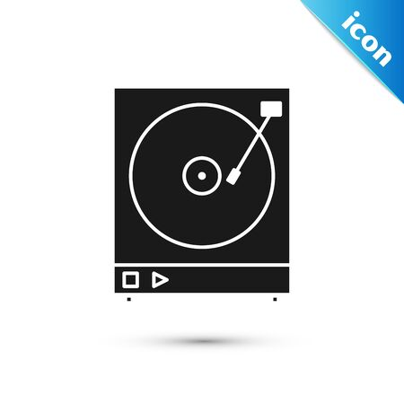 Black Vinyl player with a vinyl disk icon isolated on white background. Vector Illustration