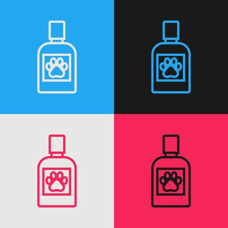 Color line Dog medicine bottle icon isolated on color background. Container with pills. Prescription medicine for animal. Vintage style drawing. Vector Illustration