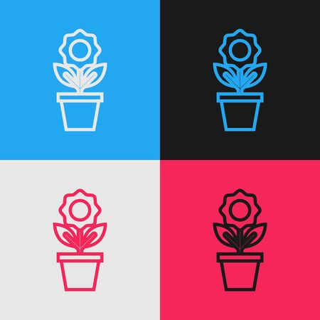 Color line Flower in pot icon isolated on color background. Plant growing in a pot. Potted plant sign. Vintage style drawing. Vector Illustration