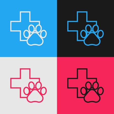 Color line Veterinary clinic symbol icon isolated on color background. Cross hospital sign. A stylized paw print dog or cat. Pet First Aid sign. Vintage style drawing. Vector Illustration