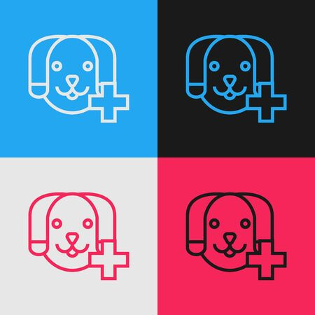 Color line Veterinary clinic symbol icon isolated on color background. Cross with dog veterinary care. Pet First Aid sign. Vintage style drawing. Vector Illustration Фото со стока - 130640254