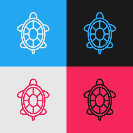 Color line Turtle icon isolated on color background. Vintage style drawing. Vector Illustration Stock Illustratie