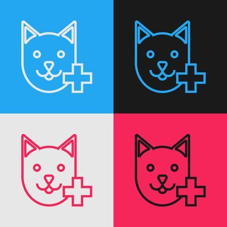 Color line Veterinary clinic symbol icon isolated on color background. Cross with cat veterinary care. Pet First Aid sign. Vintage style drawing. Vector Illustration
