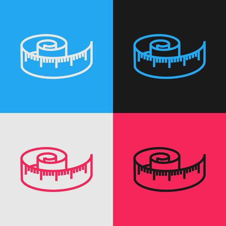 Color line Tape measure icon isolated on color background. Measuring tape. Vintage style drawing. Vector Illustration Vectores