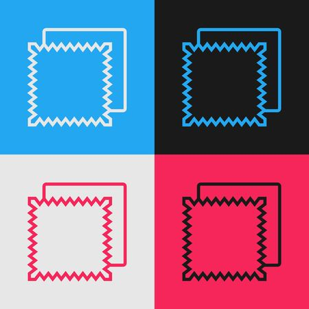 Color line Textile fabric roll icon isolated on color background. Roll, mat, rug, cloth, carpet or paper roll icon. Vintage style drawing. Vector Illustration