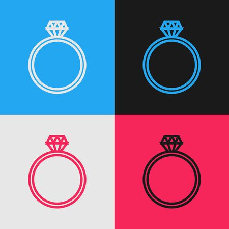 Color line Diamond engagement ring icon isolated on color background. Vintage style drawing. Vector Illustration Illustration