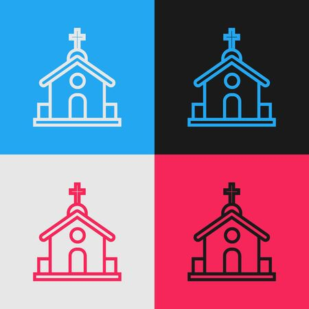 Color line Church building icon isolated on color background. Christian Church. Religion of church. Vintage style drawing. Vector Illustration