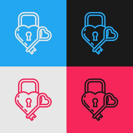 Color line Castle in the shape of a heart and key icon isolated on color background. Locked Heart. Love symbol and keyhole sign. Vintage style drawing. Vector Illustration