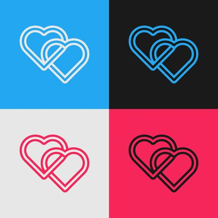 Color line Two Linked Hearts icon isolated on color background. Romantic symbol linked, join, passion and wedding. Valentine day symbol. Vintage style drawing. Vector Illustration