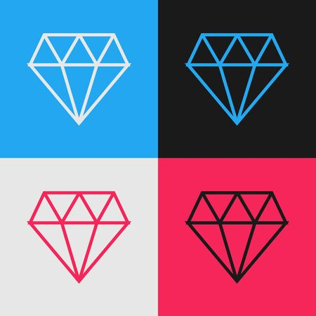 Color line Diamond icon isolated on color background. Jewelry symbol. Gem stone. Vintage style drawing. Vector Illustration