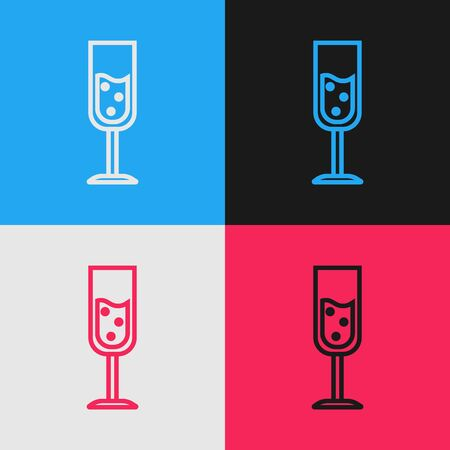 Color line Glass of champagne icon isolated on color background. Vintage style drawing. Vector Illustration