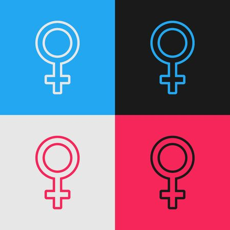 Color line Female gender symbol icon isolated on color background. Venus symbol. The symbol for a female organism or woman. Vintage style drawing. Vector Illustration