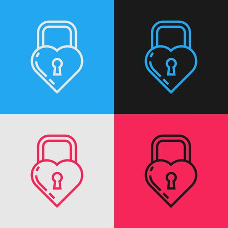 Color line Castle in the shape of a heart icon isolated on color background. Locked Heart. Love symbol and keyhole sign. Vintage style drawing. Vector Illustration Иллюстрация