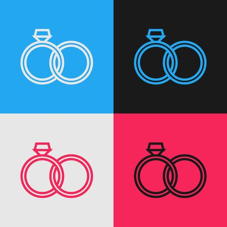 Color line Wedding rings icon isolated on color background. Bride and groom jewelery sign. Marriage icon. Diamond ring icon. Vintage style drawing. Vector Illustration Illustration