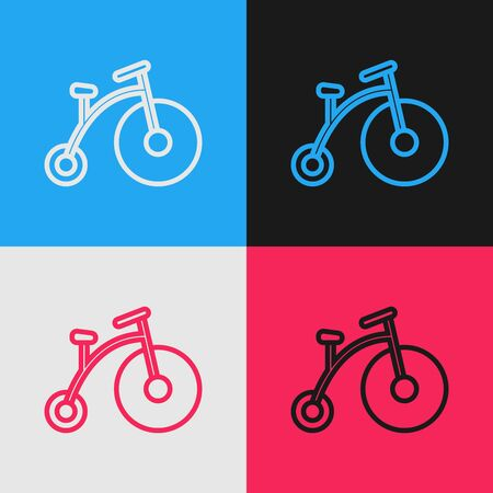 Color line Vintage bicycle with one big wheel and one small icon isolated on color background. Bike public transportation sign. Vintage style drawing. Vector Illustration