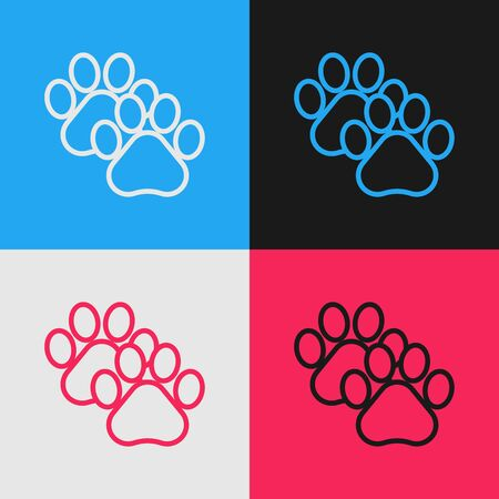Color line Paw print icon isolated on color background. Dog or cat paw print. Animal track. Vintage style drawing. Vector Illustration Stock Illustratie
