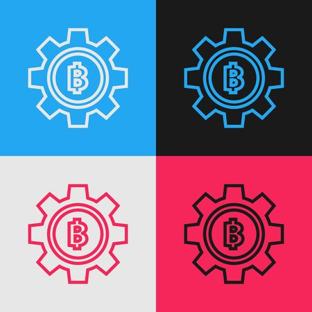 Color line Cryptocurrency coin Bitcoin icon isolated on color background. Gear and Bitcoin setting. Blockchain based secure crypto currency. Vintage style drawing. Vector Illustration
