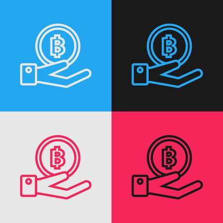 Color line Hand holding Bitcoin icon isolated on color background. Blockchain technology, digital money market, cryptocoin wallet. Vintage style drawing. Vector Illustration