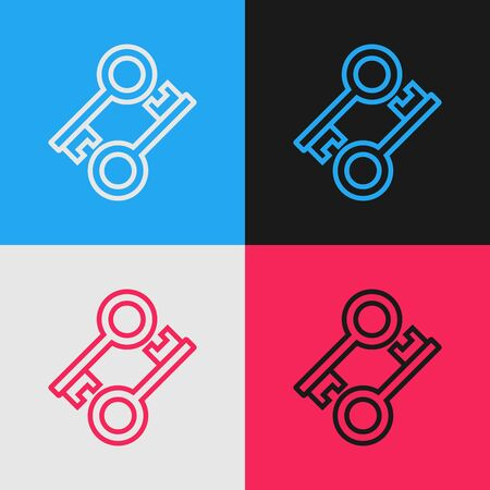 Color line Cryptocurrency key icon isolated on color background. Concept of cyber security or private key, digital key with technology interface. Vintage style drawing. Vector Illustration Иллюстрация