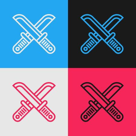 Color line Crossed hunter knife icon isolated on color background. Army knife. Vintage style drawing. Vector Illustration Иллюстрация