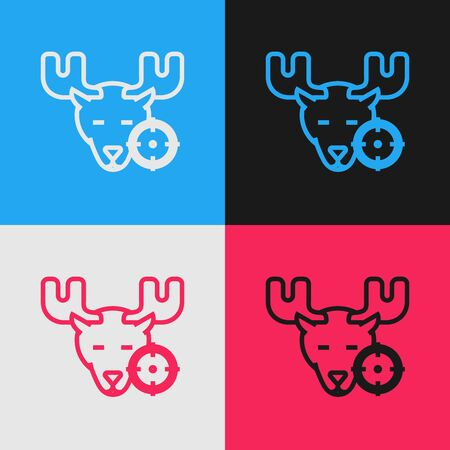 Color line Hunt on moose with crosshairs icon isolated on color background. Hunting club logo with moose and target. Rifle lens aiming a moose. Vintage style drawing. Vector Illustration