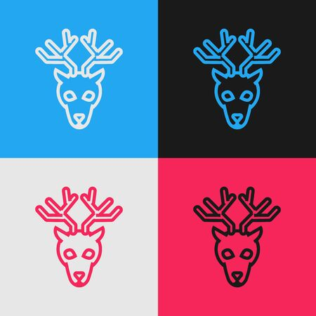 Color line Deer head with antlers icon isolated on color background. Vintage style drawing. Vector Illustration Stock Illustratie