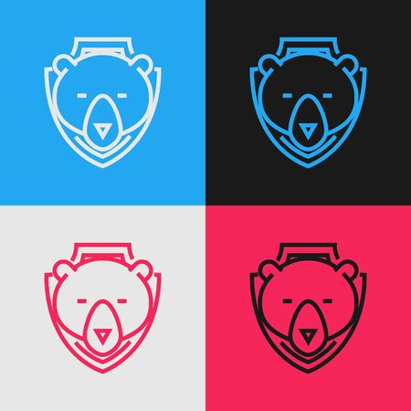 Color line Bear head on shield icon isolated on color background. Hunting trophy on wall. Vintage style drawing. Vector Illustration