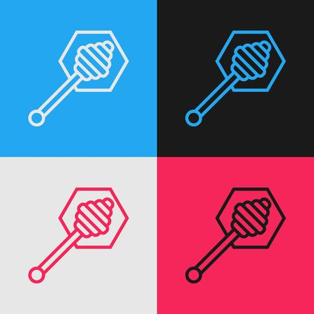 Color line Honey dipper stick icon isolated on color background. Honey ladle. Vintage style drawing. Vector Illustration