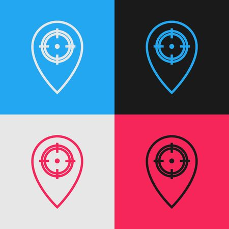 Color line Hunt place icon isolated on color background. Navigation, pointer, location, map, gps, direction, place, compass, contact, search. Vintage style drawing. Vector Illustration Çizim