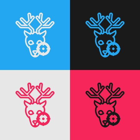 Color line Hunt on deer with crosshairs icon isolated on color background. Hunting club icon with deer and target. Rifle lens aiming a deer. Vintage style drawing. Vector Illustration